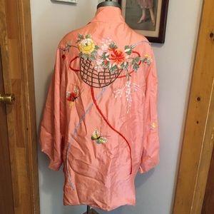 Vintage 1940s Embroidered Silk Robe